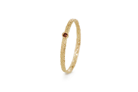 Braid Ring - Gold with red diamond