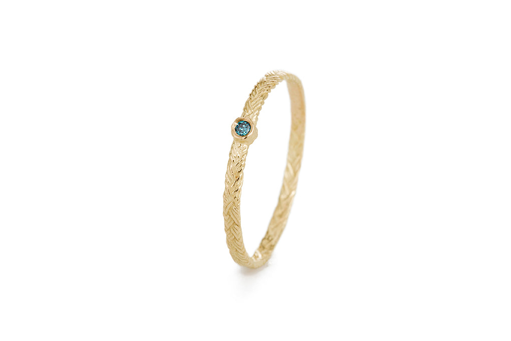 Braid Ring - Gold with blue diamond