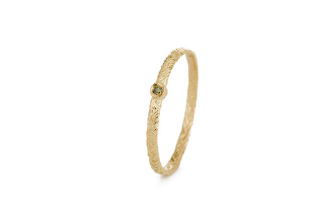 Braid Ring - Gold with green diamond