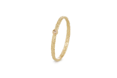 Braid Ring - Gold with champagne diamond