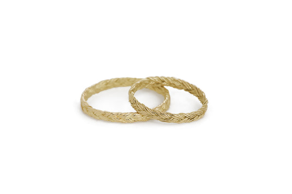 Braid Wedding Rings - Gold flat braid