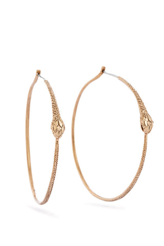 Ouroboros earrings - big hoops, bronze snakes