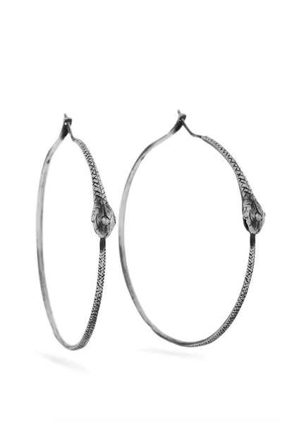 Ouroboros earrings - big hoops, silver snakes