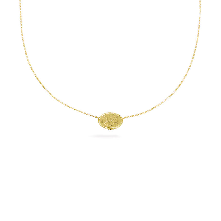 Ouroboros necklace - small horizontal 14 ct gold signet