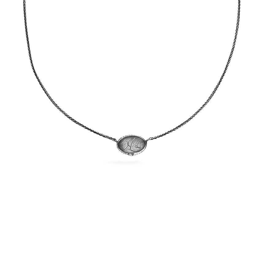 Ouroboros necklace - small horizontal silver signet