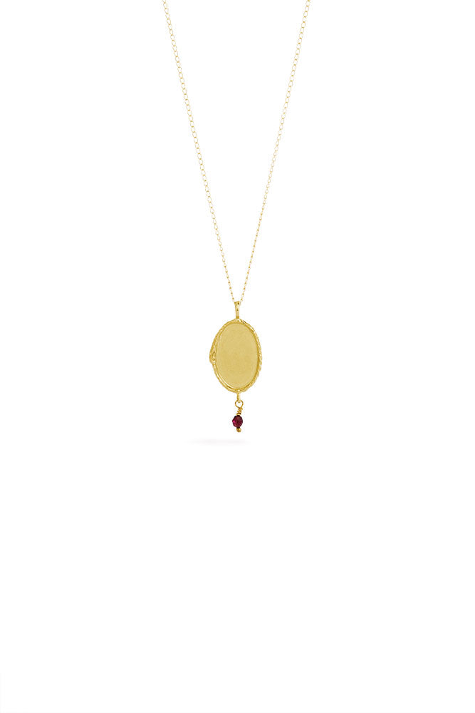 Ouroboros necklace - small vertical 14 ct gold signet with stone