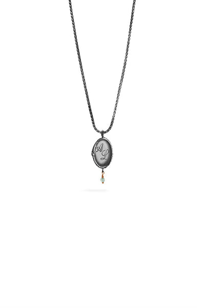 Ouroboros necklace - small vertical silver signet with stone