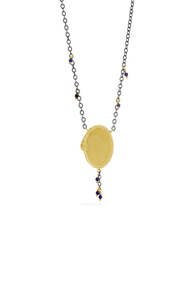 Ouroboros necklace - big 14 ct gold signet with natural stones