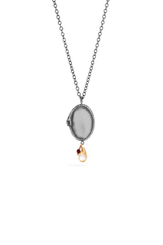 Ouroboros necklace - big silver signet with stones