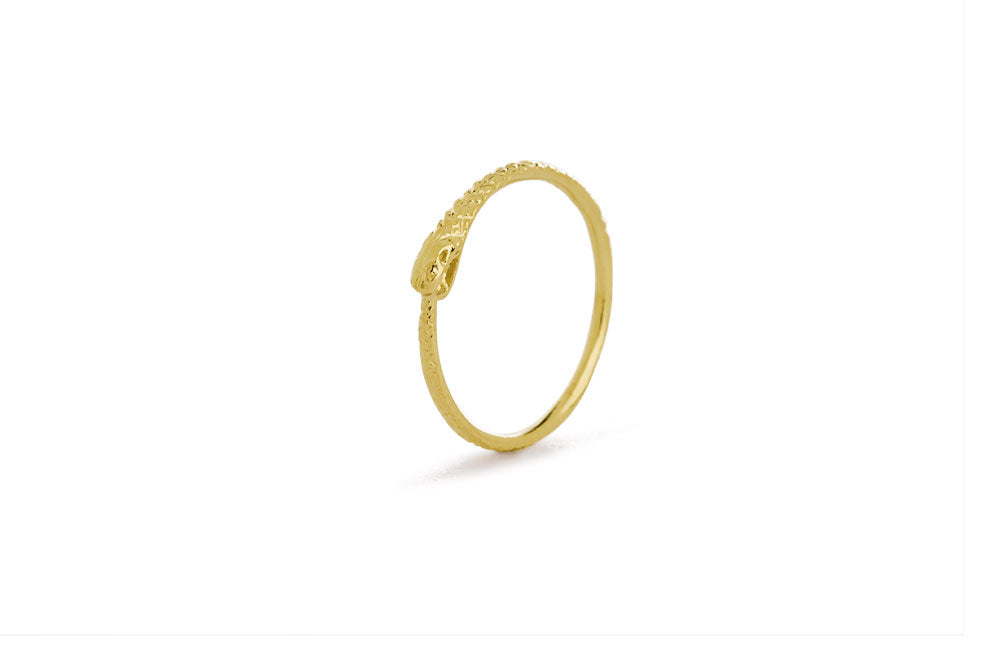 Ouroboros ring - 14 ct gold thin snake