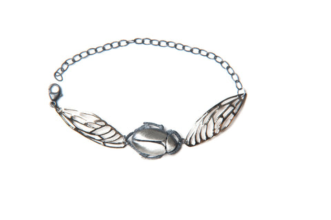 Scarab Bracelet - silver beetle and bronze wings
