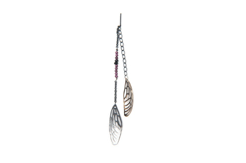 Scarab Earring - bronze and silver wing