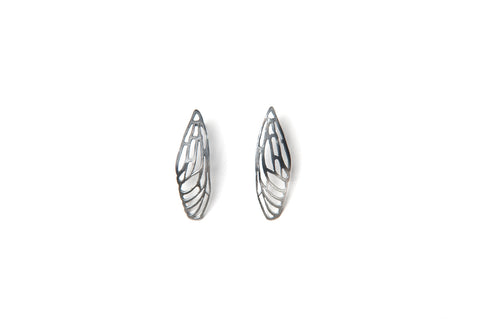 Scarab Earrings - silver wings