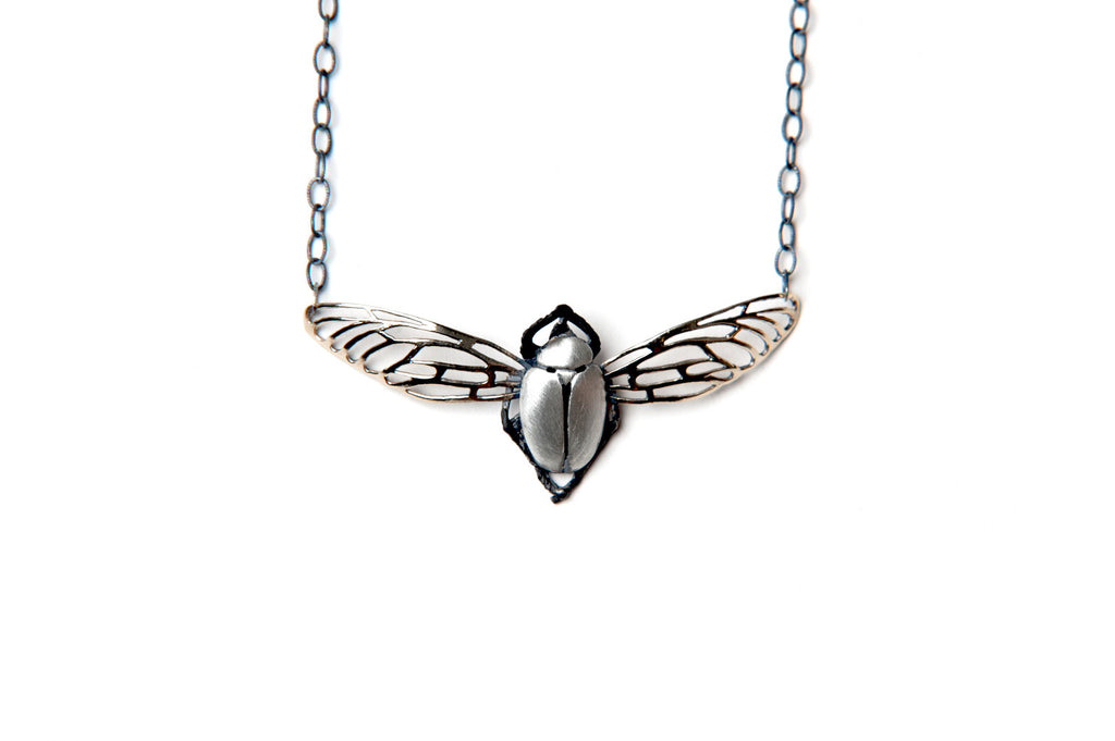 Scarab Necklace - Small silver beetle with bronze wings