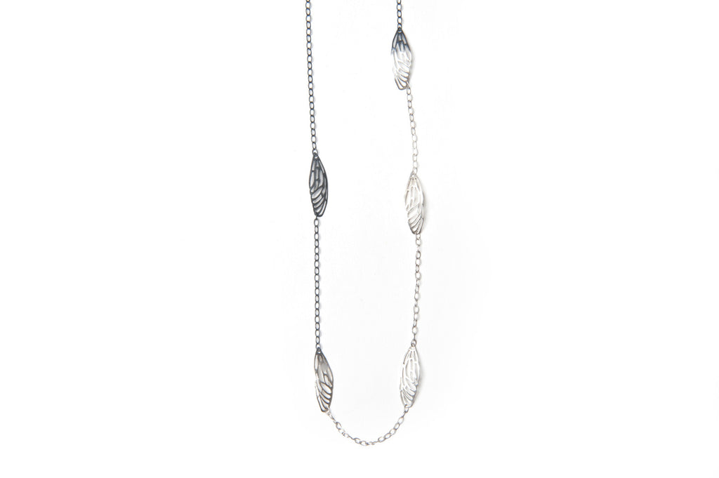 Scarab Necklace - Silver wings