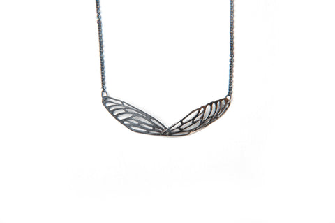 Scarab Necklace - Silver and bronze wings