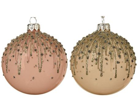 Pink and Pearl Glitter Lines Handmade European Glass Ornaments