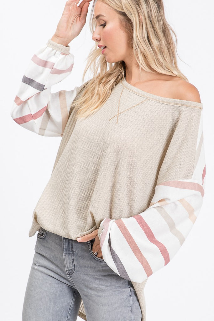 Oatmeal Waffle Top with Striped Balloon Sleeves
