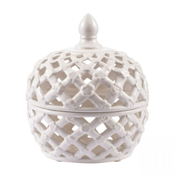 White Ceramic Lattice Design Jar