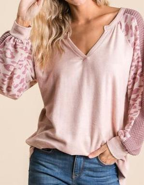 Super Soft Blush Top with Leopard Sleeve Detail