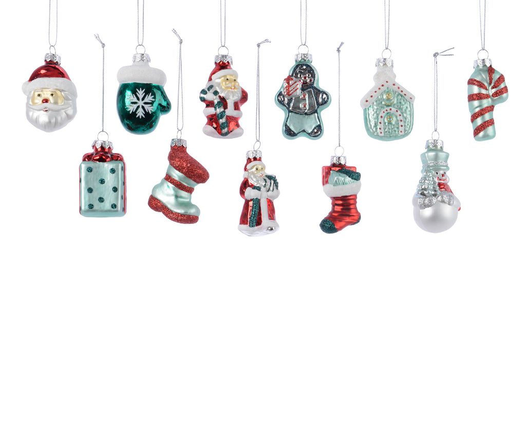 Nostalgic Blue and Red Glass Figure Ornaments