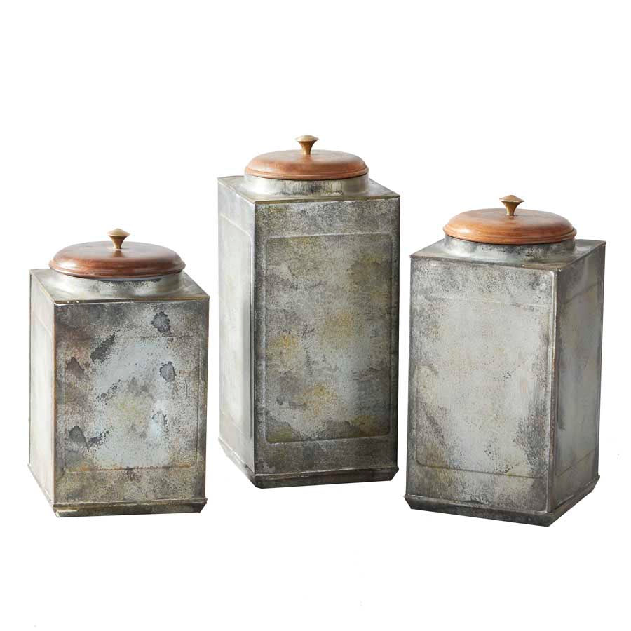 Set of 3 Square Metal Lidded Canisters