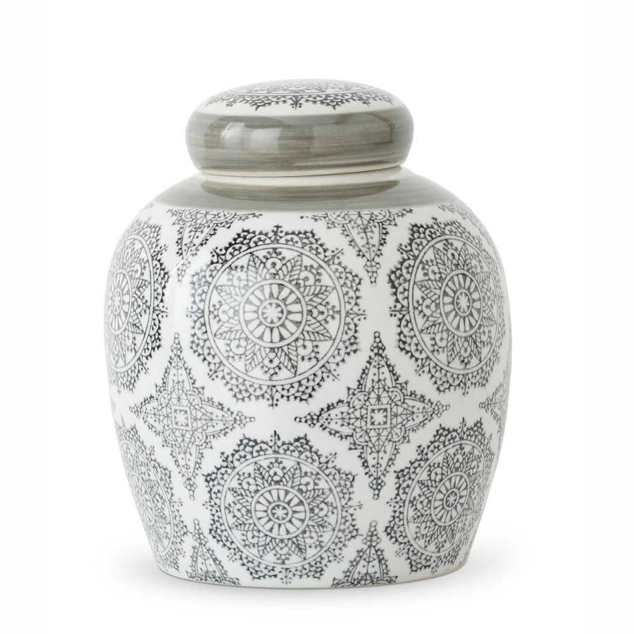 8'' Ceramic Container with Gray Patterned Design