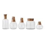 Set of 5 Glass and Wood Vases