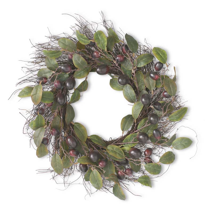 "24"" Real Touch Plum Wreath"