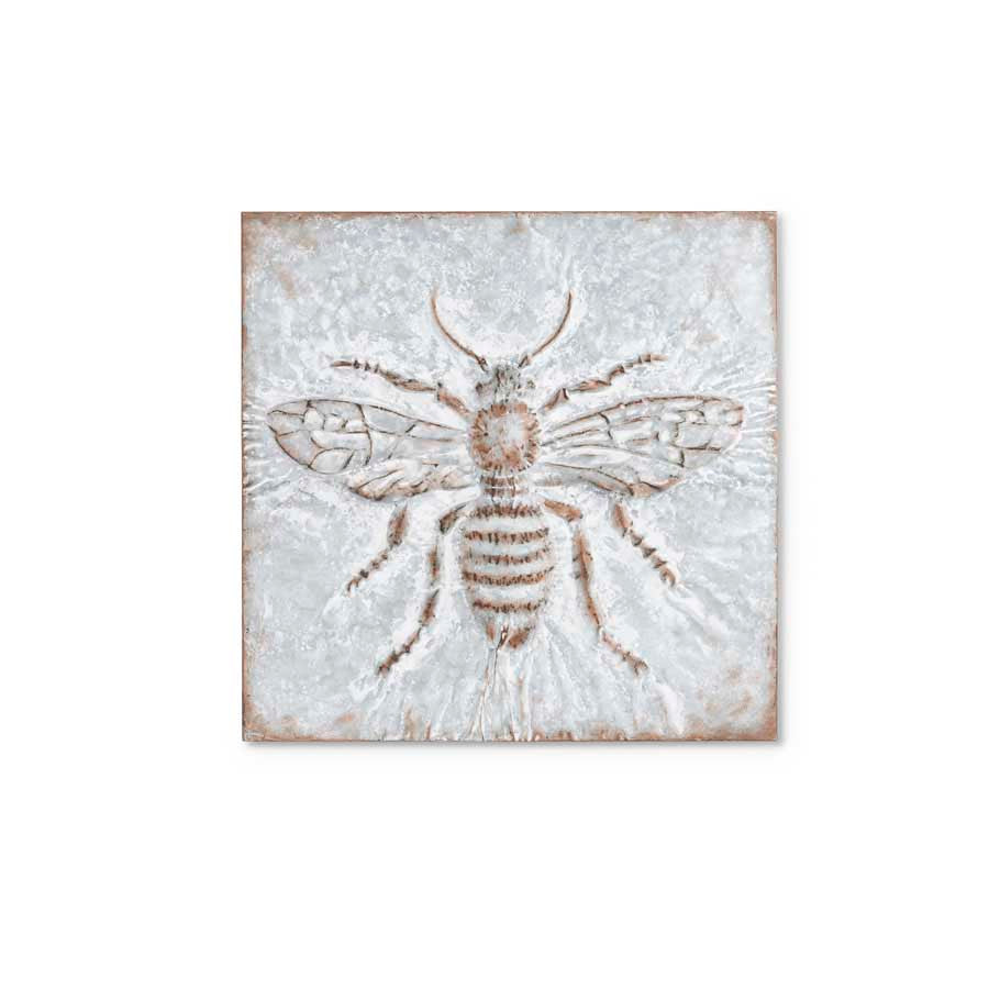 24.5'' Pressed Tin Wall Art with Bee
