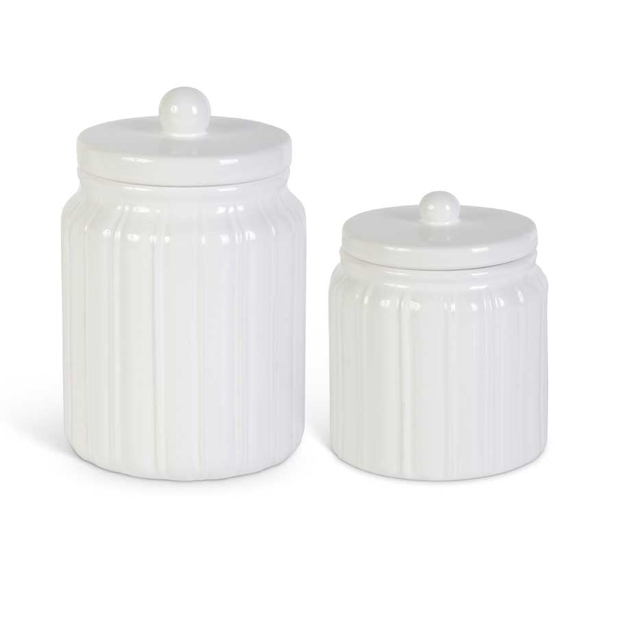Set of 2 White Ceramic Ribbed Lidded Canisters