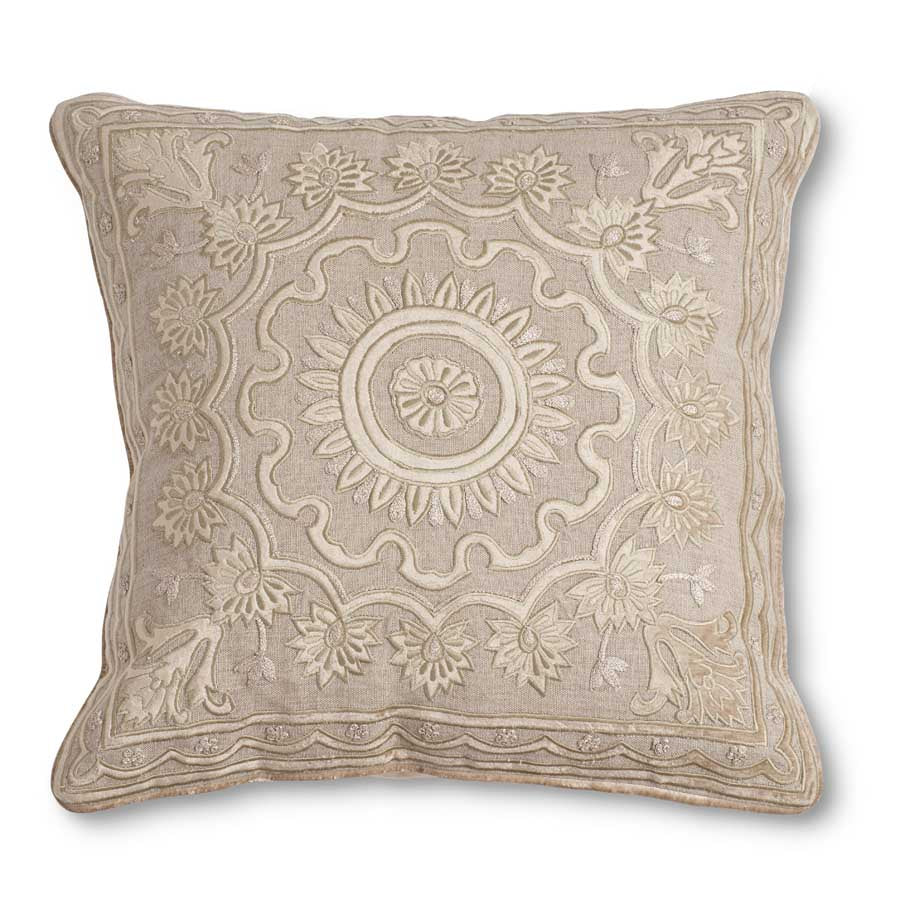 Tan Linen and Velvet Embroidered Pillow