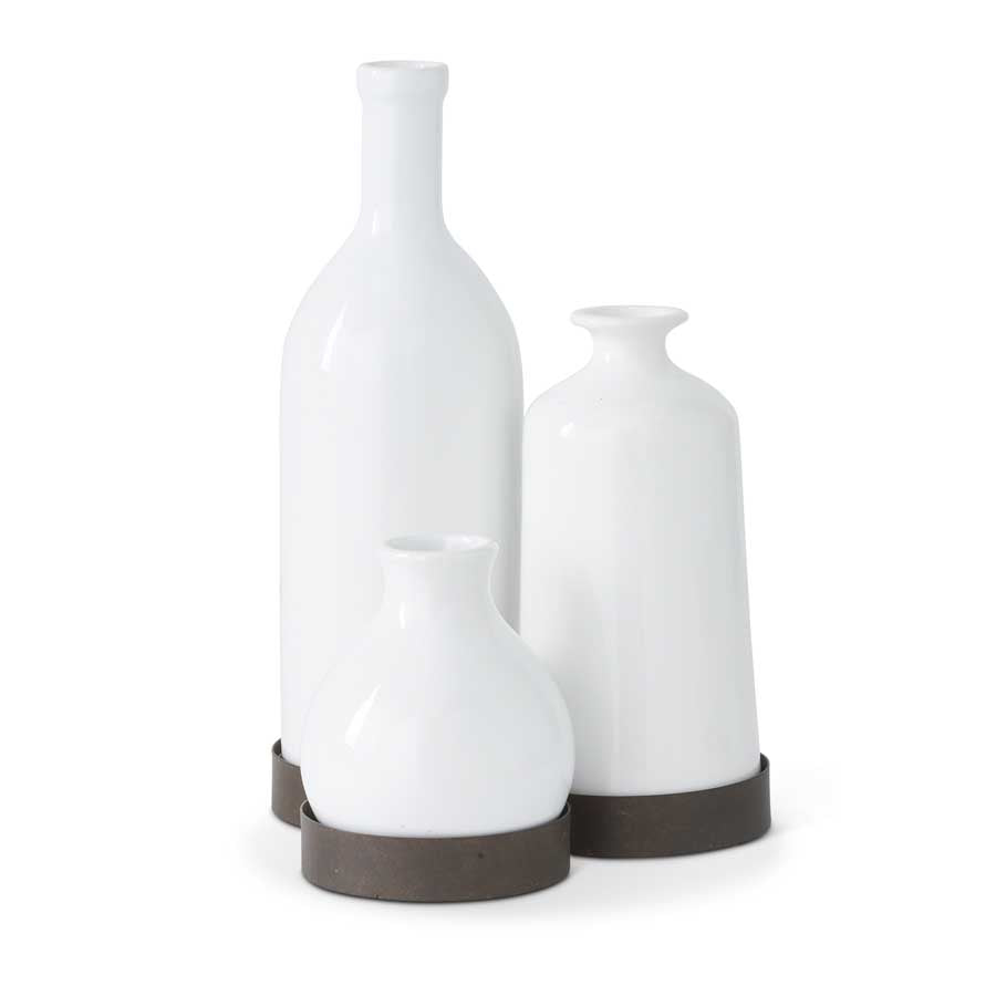 Cluster of 3 White Ceramic Vases Attached To Metal Base
