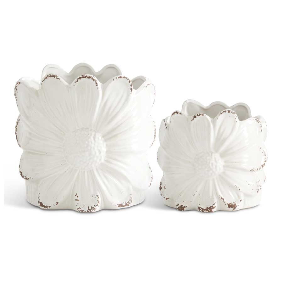 Set of 2 Distressed White Ceramic Sunflower Pots