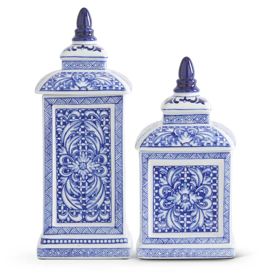 Set of 2 Blue and White Porcelain Square Lidded Containers