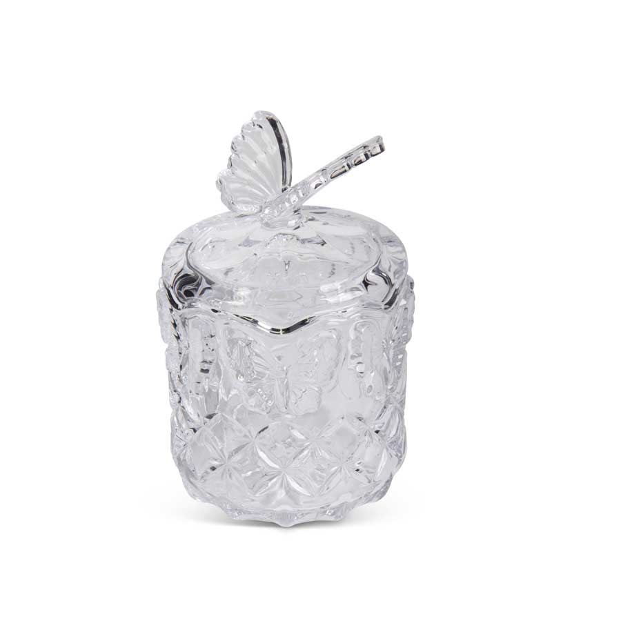 Clear Glass Butterfly Lidded Container