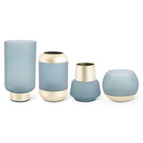 Set of 4 Round Frosted Teal Vases w/Gold Base