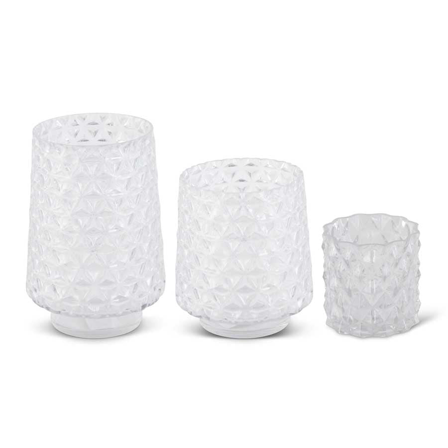 Set of 3 Diamond Cut Clear Glass Vases