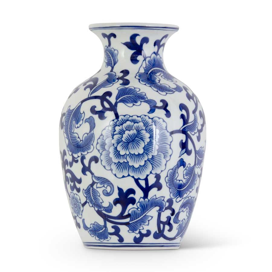 "10.5"" Porcelain Blue & White Chinoiserie Wall Vase"