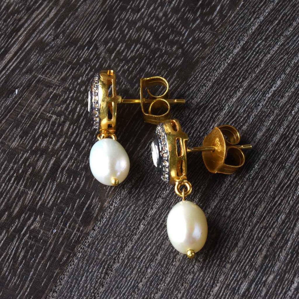 Quartz and Pearl Drop Earrings