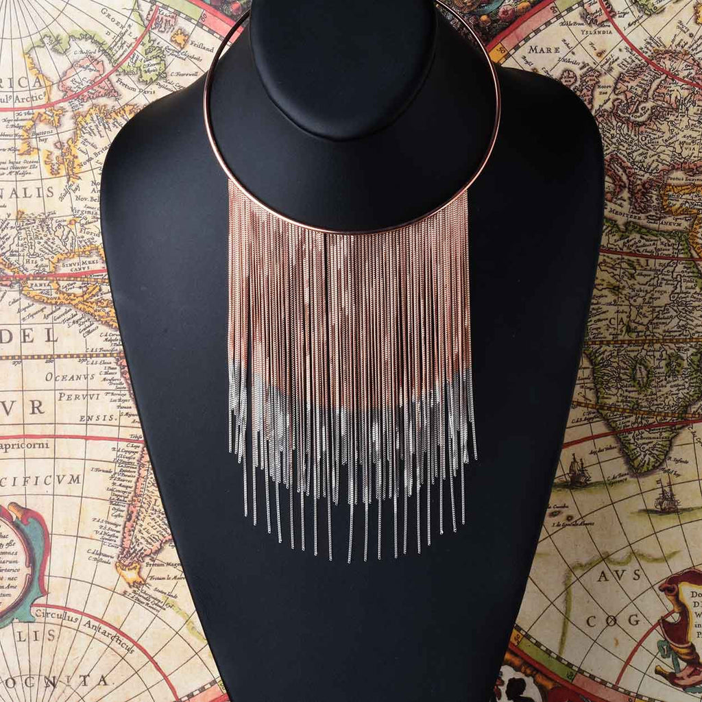 Ombré Fringe Waterfall Necklace