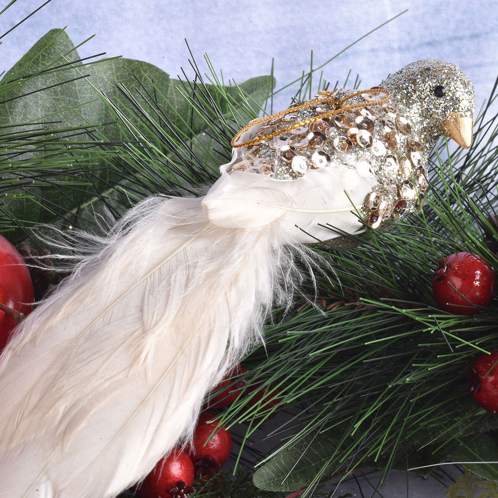 set of 6 champagne feather bird ornaments - Bird Ornaments For Christmas Tree