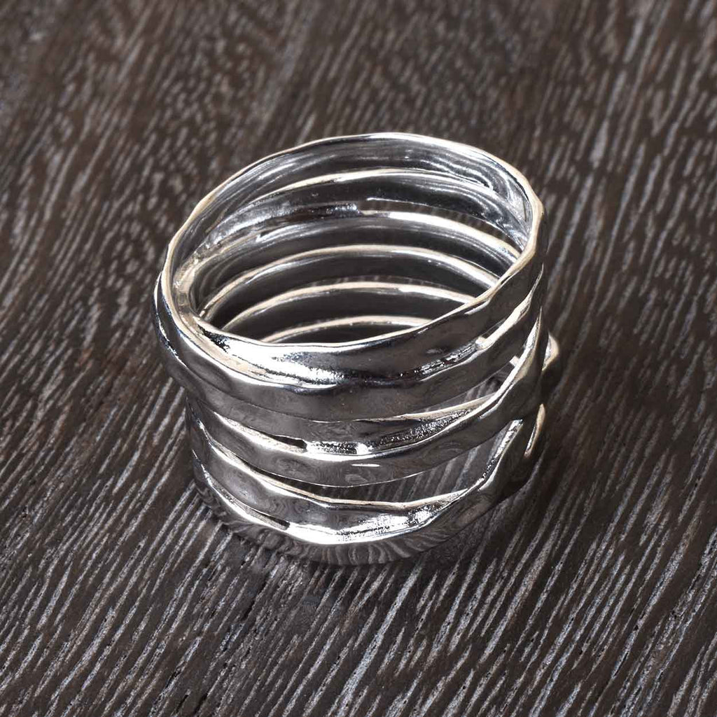 Hammered Multi Band Ring