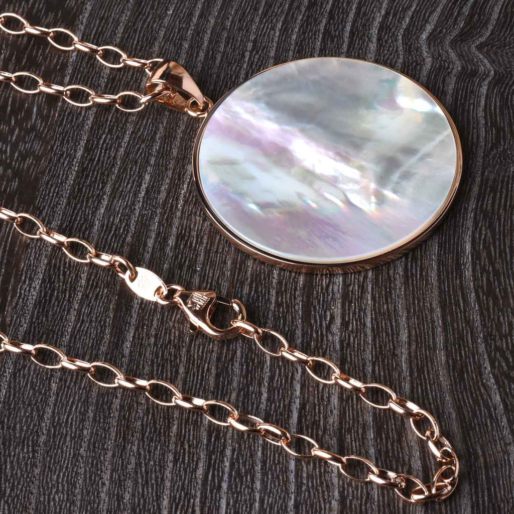 "Round Mother Of Pearl Pendant with 36"" Chain"
