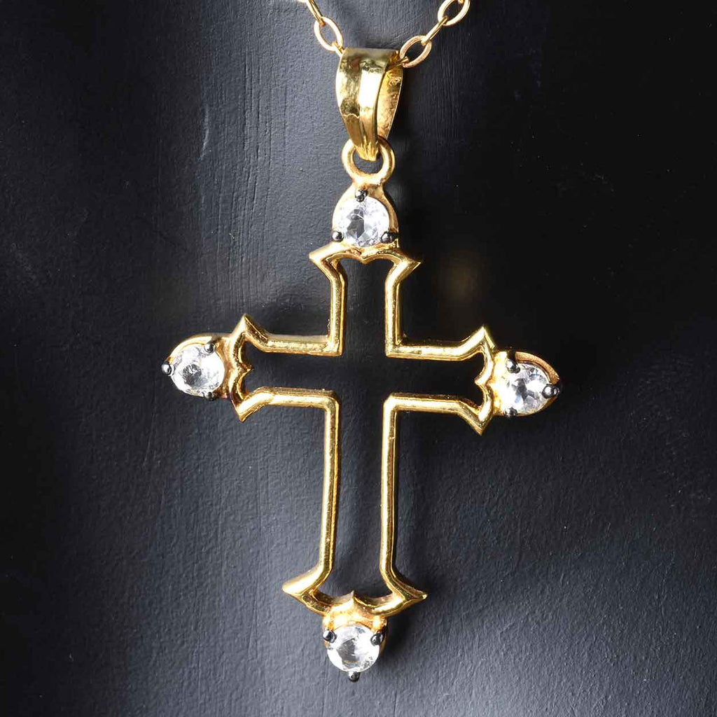 Open White Topaz Cross