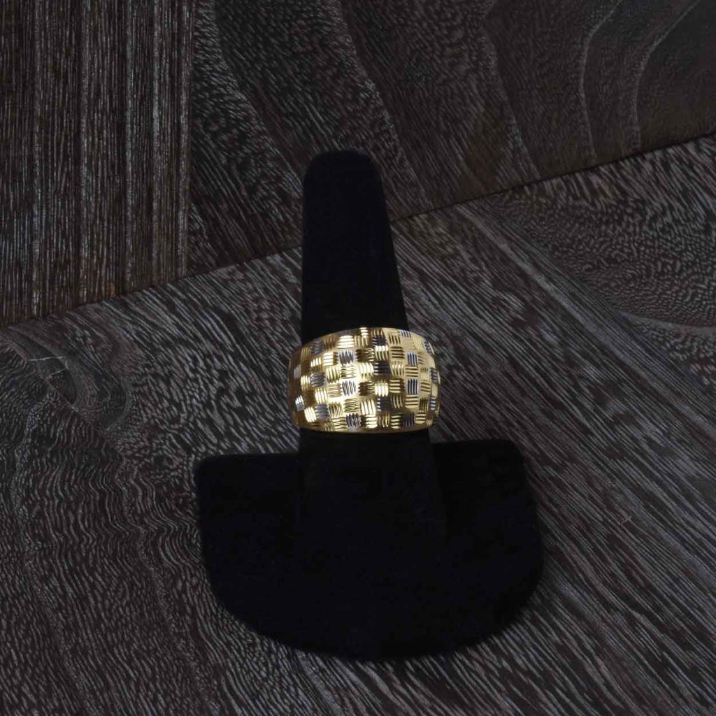 Diamond Cut Two Tone Fireworks Ring