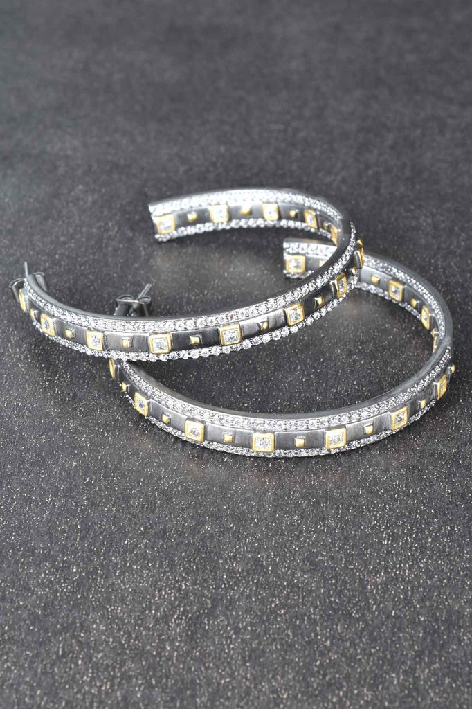 Couture Inspired Pave Black and Gold Hoop Earrings