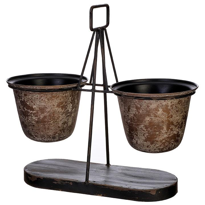 Double Bucket Container with Stand