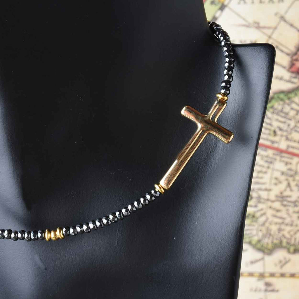 Hematite Necklace with Cross