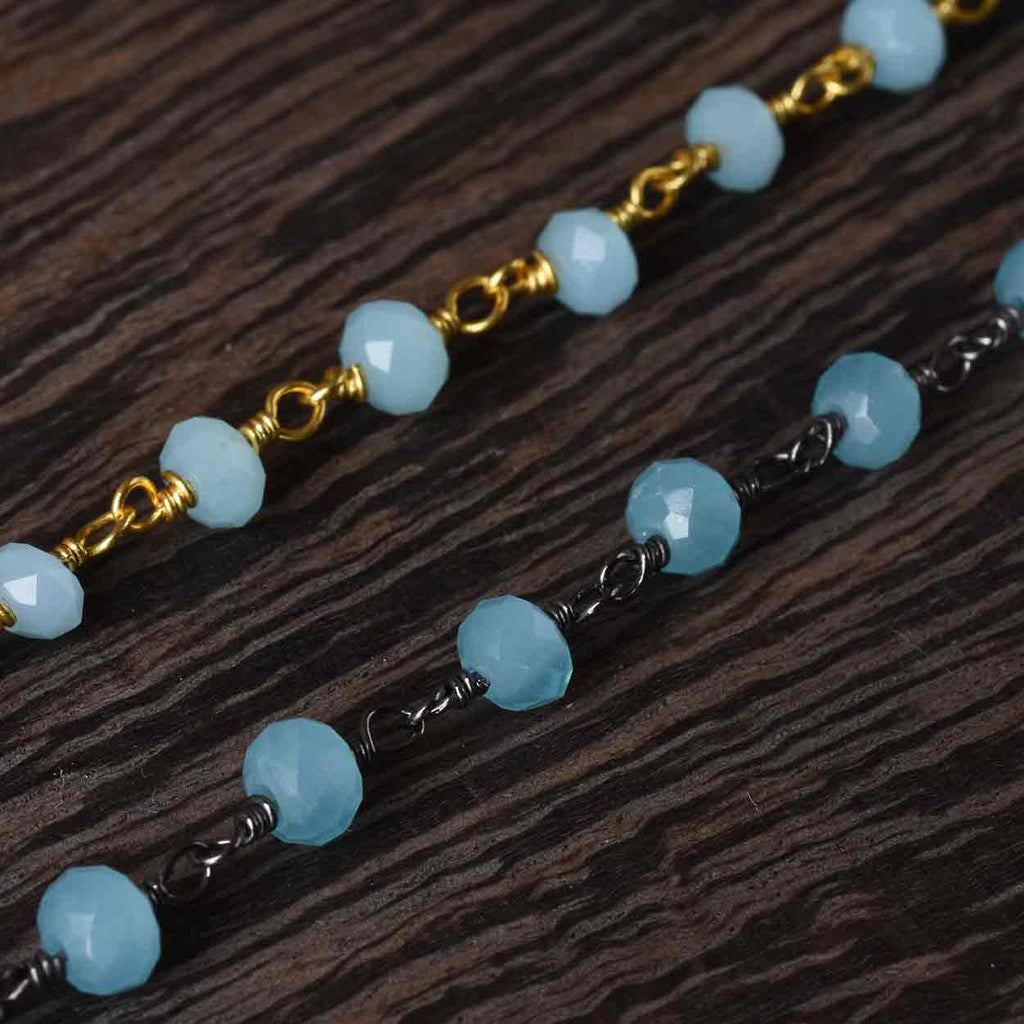Soft Aqua or Soft Ocean Blue Faceted Bead Necklace